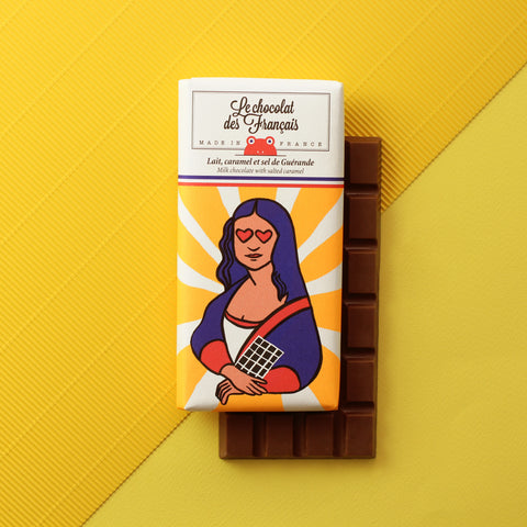 Le chocolat des Francais - 80g Bar - Milk Chocolate  & salted caramel - Joconde