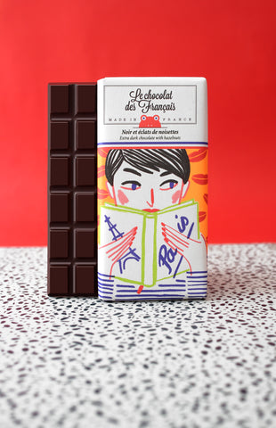 Le chocolat des Francais - 80g Bar - Dark Chocolate & hazelnuts - Lectrice