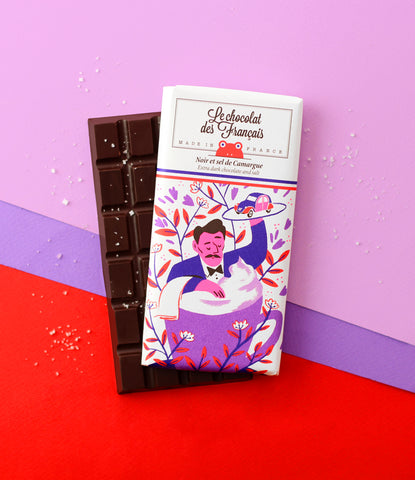 Le chocolat des Francais - 80g Bar - Dark Chocolate & salt - Tasse
