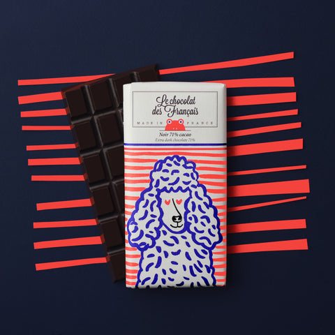 Le chocolat des Francais - 80g Bar - Dark Chocolate - Caniche