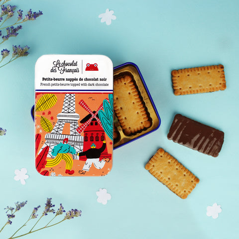 Le chocolat des Francais - Petit Beure biscuits in a metal tin - Dark
