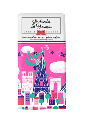 Le chocolat des Francais - 80g Bar - Milk Chocolate  & crispy cereal - Crocodile