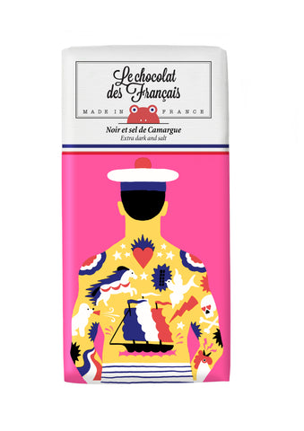 Le chocolat des Francais - 80g Bar - Dark Chocolate & salt - Tatoo