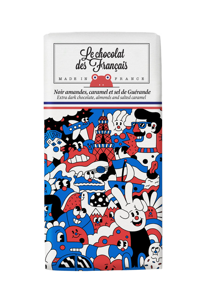 Le chocolat des Francais - 80g Bar - Dark Chocolate, almonds & salted caramel - Meli Melo