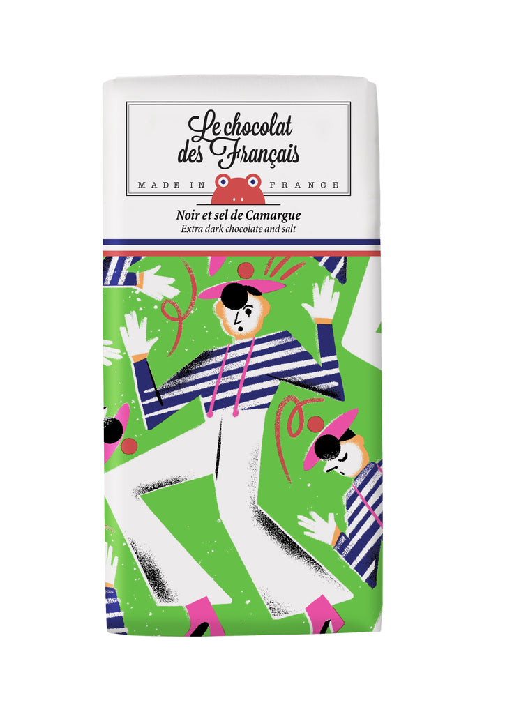 Le chocolat des Francais - 80g Bar - Dark Chocolate & salt - Mime marceau