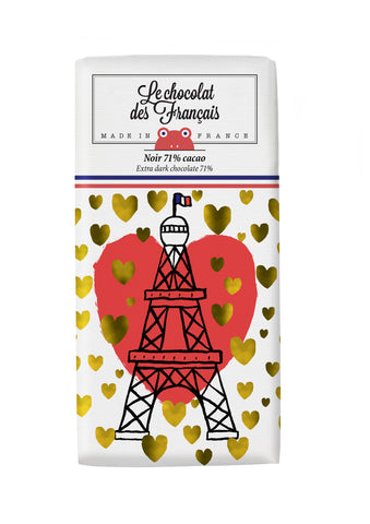 Le chocolat des Francais - 80g Bar - Dark Chocolate - Tour Eiffel Coeur