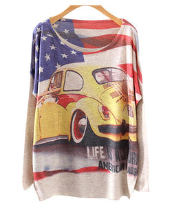 American Flag And Beetle Print Round Neck Batwing Jumper ST0230005