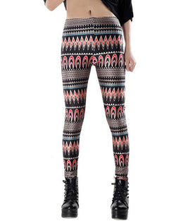 Apparel Waves Print Skinny Ankle Grazer Leggings TR0290124