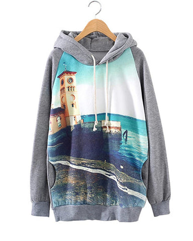 Beacon Scenery Print Grey Hoodie With Pockets SS0230030
