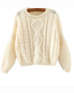 Beige Bat Sleeve Cropped Cable Knit Sweater With Split Back ST0230104-2