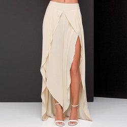 Beige Beach High-Waist Asymmetrical Forked Tail Chiffon Skirt-SK0310007