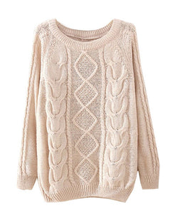 Beige Cable Knit Jumper ST0230046-1