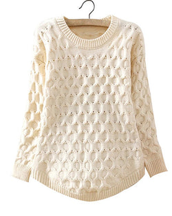 Beige Cable Knit Round Hem Jumper ST0230048-1