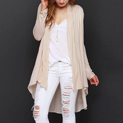 Beige Casual Forked Tail Polyester Cardigan-SS0310001