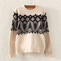 Beige Casual Ice Cream Print Crew Neck Cable Knit Polyester Jumper-ST0230145-2