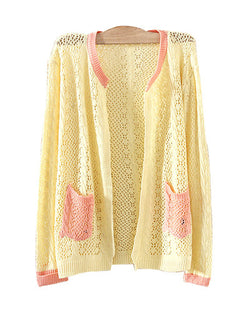 Beige Crochet Knit Cardigan With Color Contrast Pockets ST0230077-2