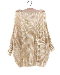 Beige Crochet Round Neck Hollow Out Batwing Jumper With Pocket Patch ST0230039-1