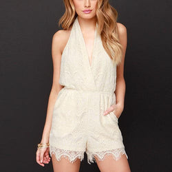 Beige Cute V-Neck Backless Lace Ruffle Playsuits-JS0310003