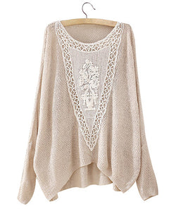 Beige Grey Round Neck Batwing Jumper With Crochet Patch ST0230013-1