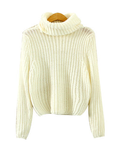 Beige High Neck Cropped Cable Knit Sweater ST0230116-3