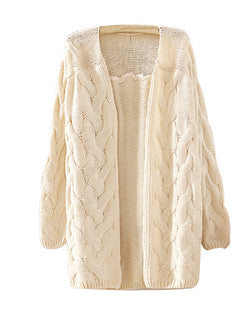Beige Retro Crochet Cable Knit Loose Longerline Cardigan ST0230081-4