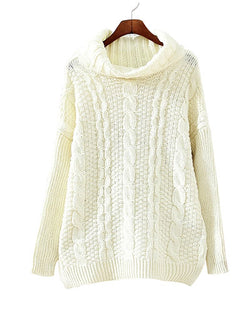 Beige Roll Neck Cable Knit Jumper In Longer Length ST0230049-1