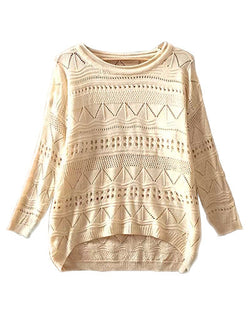 Beige Round Neck Hollow Out Loose Knit Jumper ST0230029-1