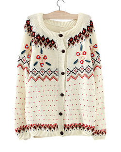 Beige Round Neck Knit Cardigan With Crochet Detail ST0230055-1