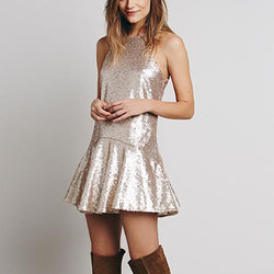 Beige Sexy&Club Sleeveless Sequin Polyester Skater Dress-DR0310032-4