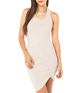 Beige Sleeveless Asymmetrical Hem Bodycon Mini Dress DR0130251