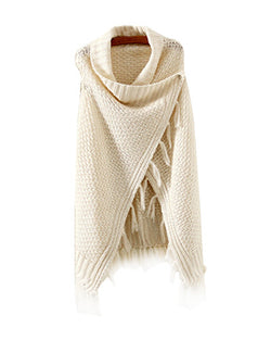 Beige Sleeveless Cable Knit Shawl With Asymmetrical Tassels ST0230130-2