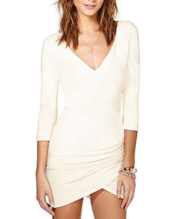 Beige Three Quarter Sleeve Bodycon Short Wrap Dress DR0130254