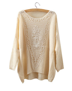 Beige Yellow Round Neck Batwing Jumper With Crochet Patch ST0230013-2
