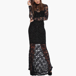 Black Apparent Hollow Out Sexy Patchwork Fishtail Lace Dress DR0130268