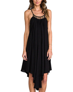 Black Asymmetrical Frill Hem Midi Chiffon Slip Dress DR0130218