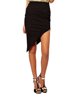 Black Asymmetrical Hem Bodycon Midi Skirt SK0130004