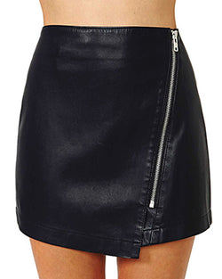 Black Asymmetrical PU Bodycon Mini Skirt With Zipper SK0130002