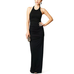 Black Asymmetrical Sexy Backless Round Collar Backless Polyester Dress DR0130275