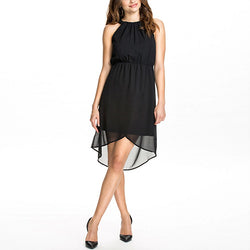 Black Asymmetrical Sleeveless Strapless Chiffon Dress DR0130306
