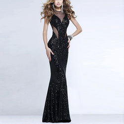 Black Backless Gernadine Patchwork Sequined Fishtail Polyester Dress DR0130282