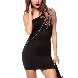 Black Backless Off-The-Shoulder Sleeveless Asymmetrical Zipper Polyester Dress DR0130288