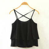 Black Casual Backless Cross Straps Layered Chiffon Tank Top-BL0230022-3