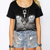 Black Casual Cat Print Round Neck Short Sleeve Cotton Crop Top-TS0310004