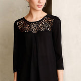 Black Casual Crew Neck Three Quarter Sleeve Hollow Out Chiffon Blouse-BL0310002-1