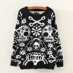 Black Casual Skull Print Crew Neck Cable Knit Polyester Jumper-ST0230142