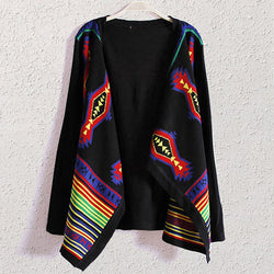 Black Casual Striped Long Sleeve Cape Polyester Cardigan-ST0230150