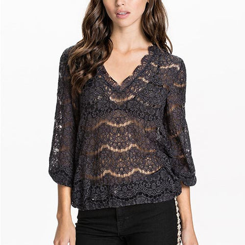 Black Casual V-Neck Striped Hollow Out Three Quarter Sleeve Lace Ruffle Shirt-BL0310005