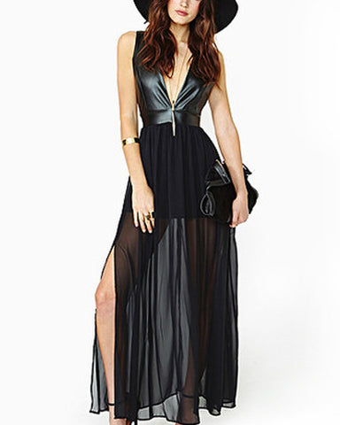 Black Chiffon Deep V Neck Maxi Dress DR0130191
