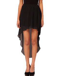 Black Chiffon High-Low Skirt SK0130003