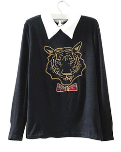 Black Collared Jumper With Embroidered Tiger Head ST0230038-3